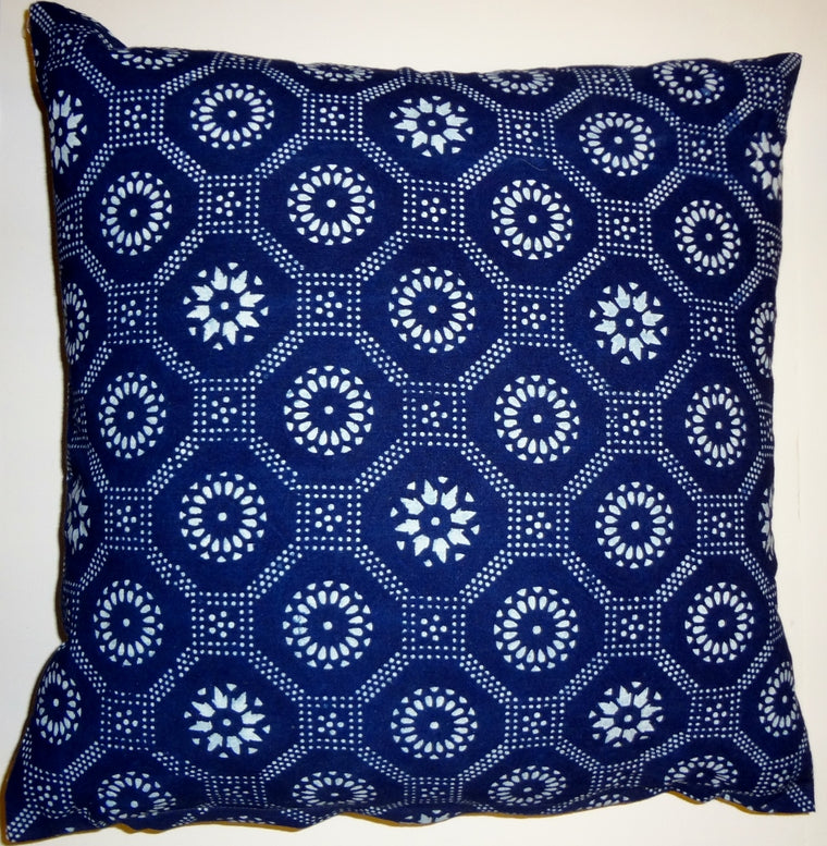 BP5 Indigo block printed pillow cover