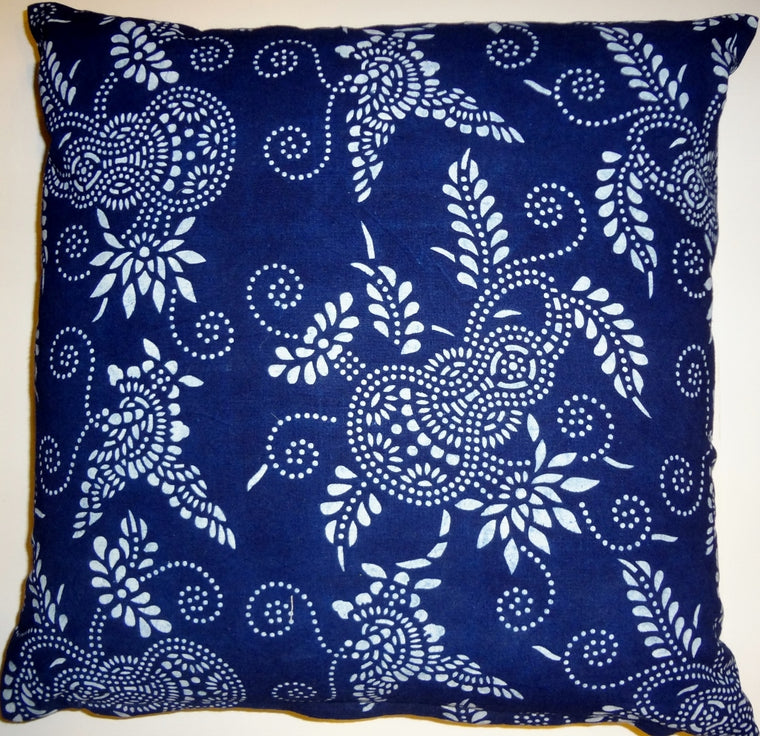 BP6 Indigo block printed pillow cover