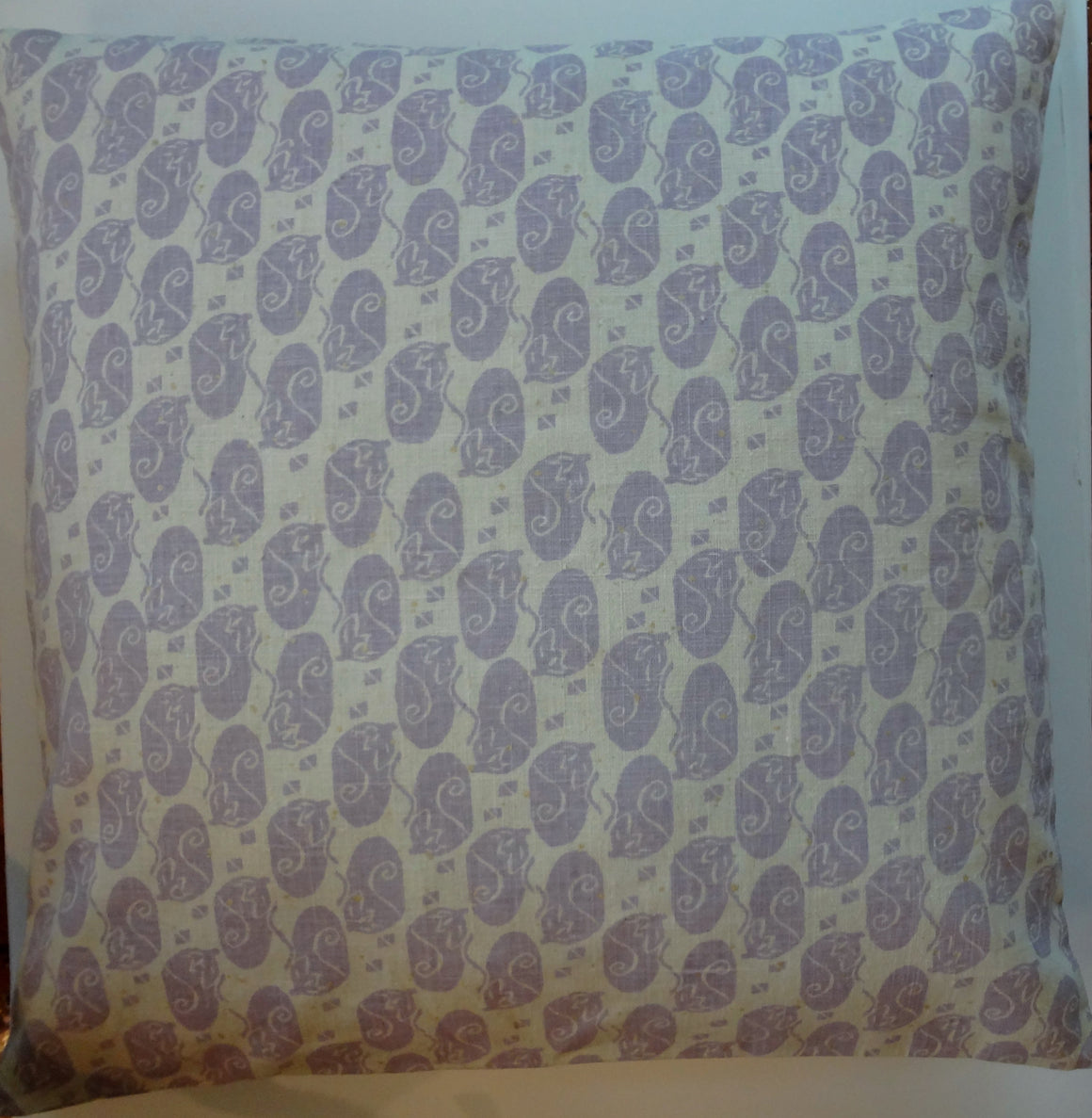 HMP10 Hemp/linen hand stamped pillow cover