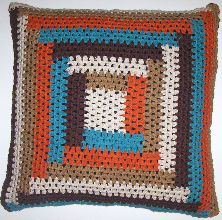 OC020 Retro Mid-Century Untreated cotton hand crocheted pillow cover