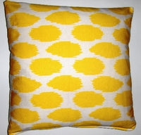 OC025 Cheeky Ikat Print Sunshine organic cotton pillow cover