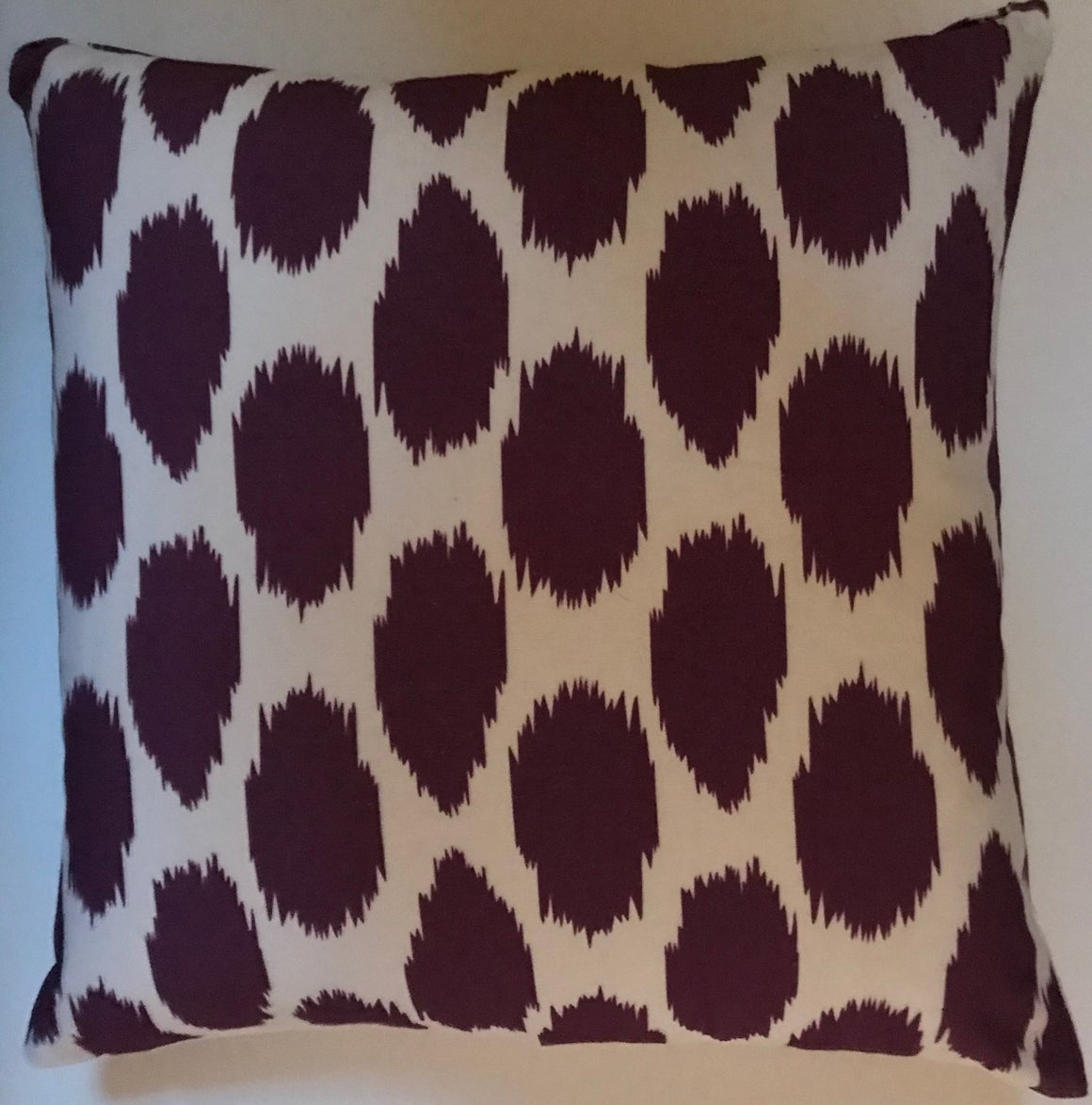 OC022 Cheeky Ikat Print Grape organic cotton pillow cover