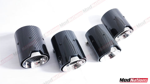 BMW M3 M4 M5 F10 F80 F82 F83 MPE CARBON EXHAUST TIPS (CHROME)