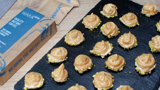 Instant Coffee Meringues Dipped in White Chocolate and Pistachios