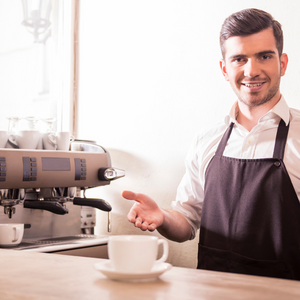 a person whose job involves preparing and serving different types of coffee
