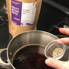 make premium instant coffee with pepper