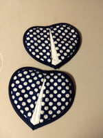 Padded heart-shaped Potholders Navy with White Polkadots