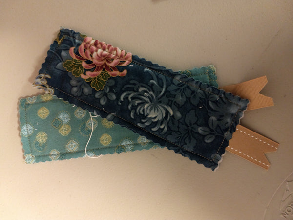 Black Fabric Bookmark with Floral