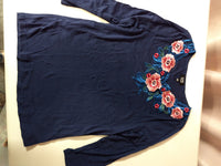 Embroidery Appliqued Ladies Shirt Dark Blue