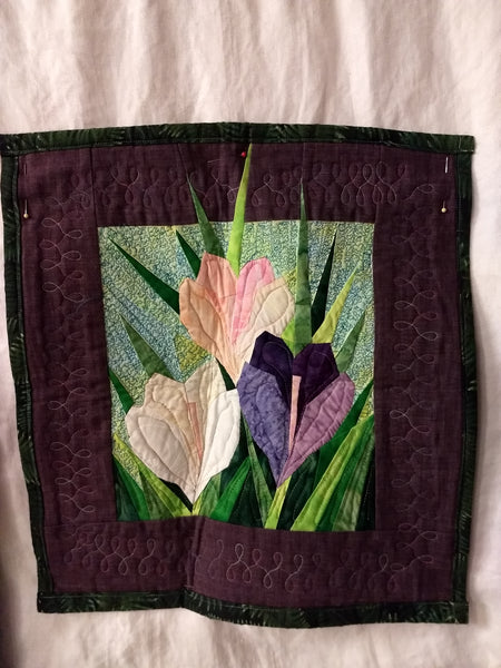 3-Crocus Quilted Wall Hanging