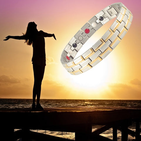 Magnetic Health Bracelet Stainless Steel 3 Health Care Elements