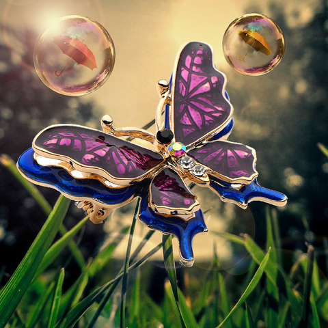 Colorful Enamel Butterfly Brooch Double Layer Fashion Jewelry