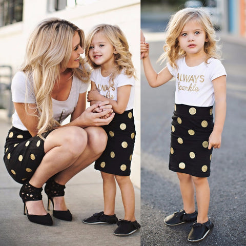 Mom and Baby Matching Clothes Baby Girls and Mommy Short Sleeve Clothes Dot Skirts and T-shirts