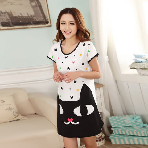 Cute Cartoon Printed Sleepwear Loose Nightwear Short Sleeve