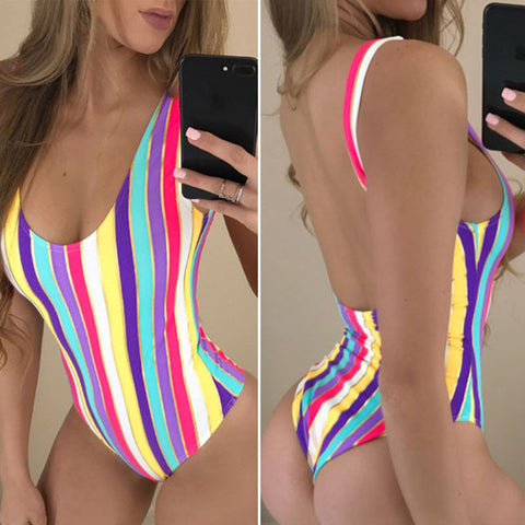 Colorful Strips Sexy Sport Beach Women's Swimwear Print Bathing Suit
