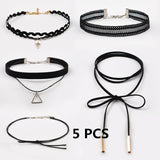 Choker Necklace Leather Velvet Lace Strip