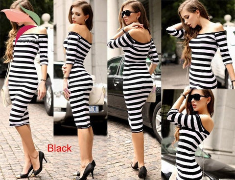 New Line Knee Length Women Striped Dress Casual Clothing Plus Sizes