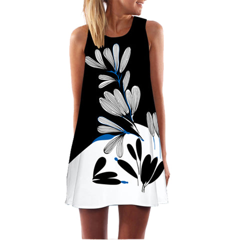Summer Women Dress Floral Print Dress Sleeveless Short Beach Dress
