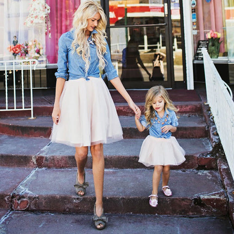 Mom and Daughter Set Denim Shirt and Tutu Skirt Matching Clothes