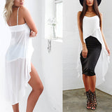 Summer Beach Top Dress Women Irregular Sexy Sleeveless Chiffon Dress