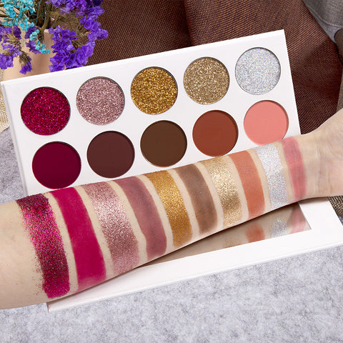Eyeshadow Pallete 5 Glitter + 5 Matte Pressed Powder Diamond Glitter  Make up Palette
