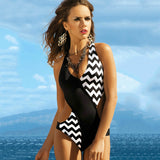 One Piece Monokini Swimsuit Printed Color Black and White