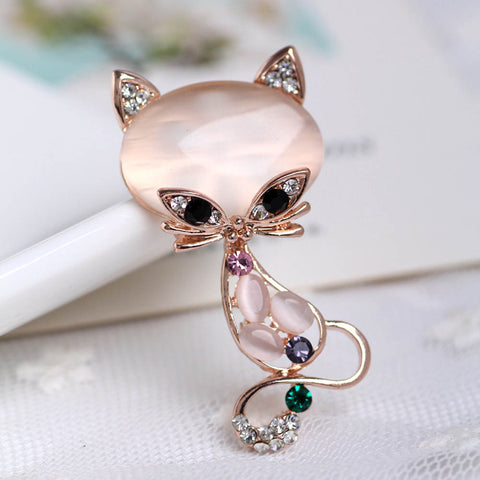 Multicolor Opal Stone Cat Brooch Cute Animal Pin Brooch Jewelry