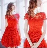 Fashion Women Short Sleeve Lace Mini Dress Elegant Sweet Party Dress