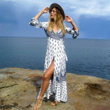 Long Sleeve Beach Wear Tunic Floral Print Bohemian Style Robe Maxi Dress