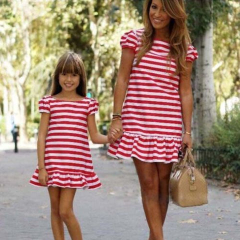 Summer Mom & Daughter Family Matching Red Striped Dress Short Sleeve Ruffles