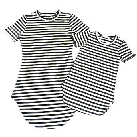 Fashion Short Sleeve Striped Family Clothes Women Girls Dresses