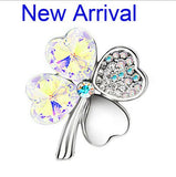 Austrian Crystal Four Leaf Clover Brooch Women Fashion Jewelry