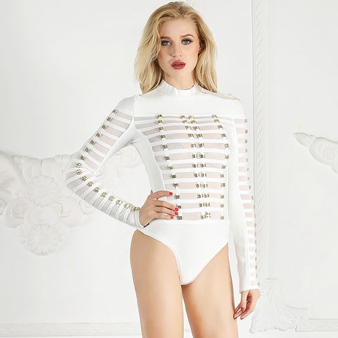 Fashion Bodysuit Women Long Sleeve Metal Ring Patchwork Mesh Bandage Bodysuit