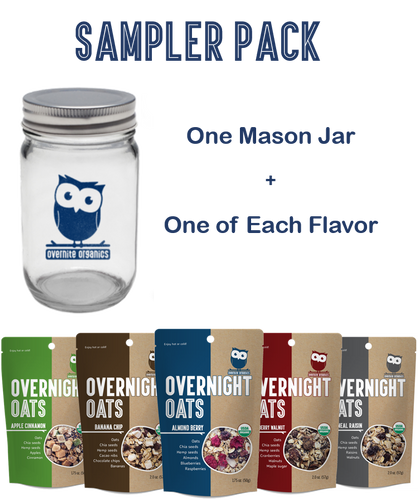 Sampler Pack (Mason Jar & 5 Single-Serve Pouches - 1 of Each Flavor)
