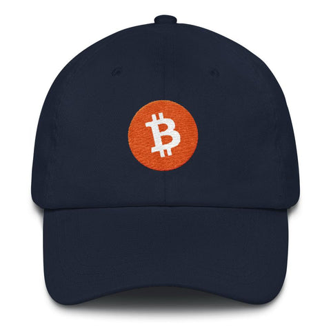 Bitcoin Logo Dad Hat-Navy-CryptoClothe