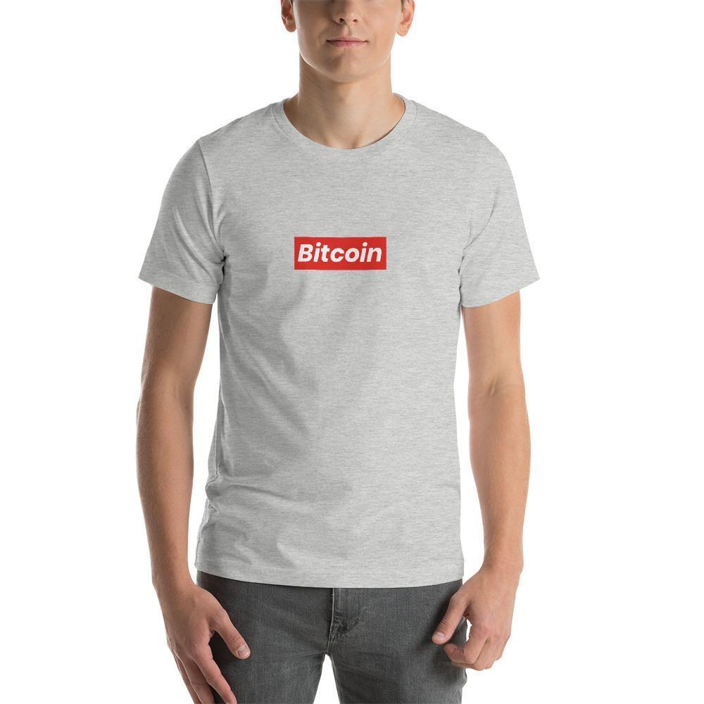 Bitcoin Subreme T-Shirt | Unisex-Athletic Heather-S-CryptoClothe