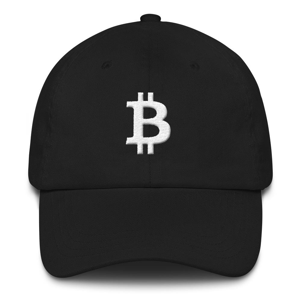 Bitcoin Symbol Dad Hat-Black-CryptoClothe