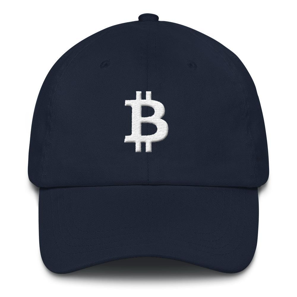 Bitcoin Symbol Dad Hat-Navy-CryptoClothe