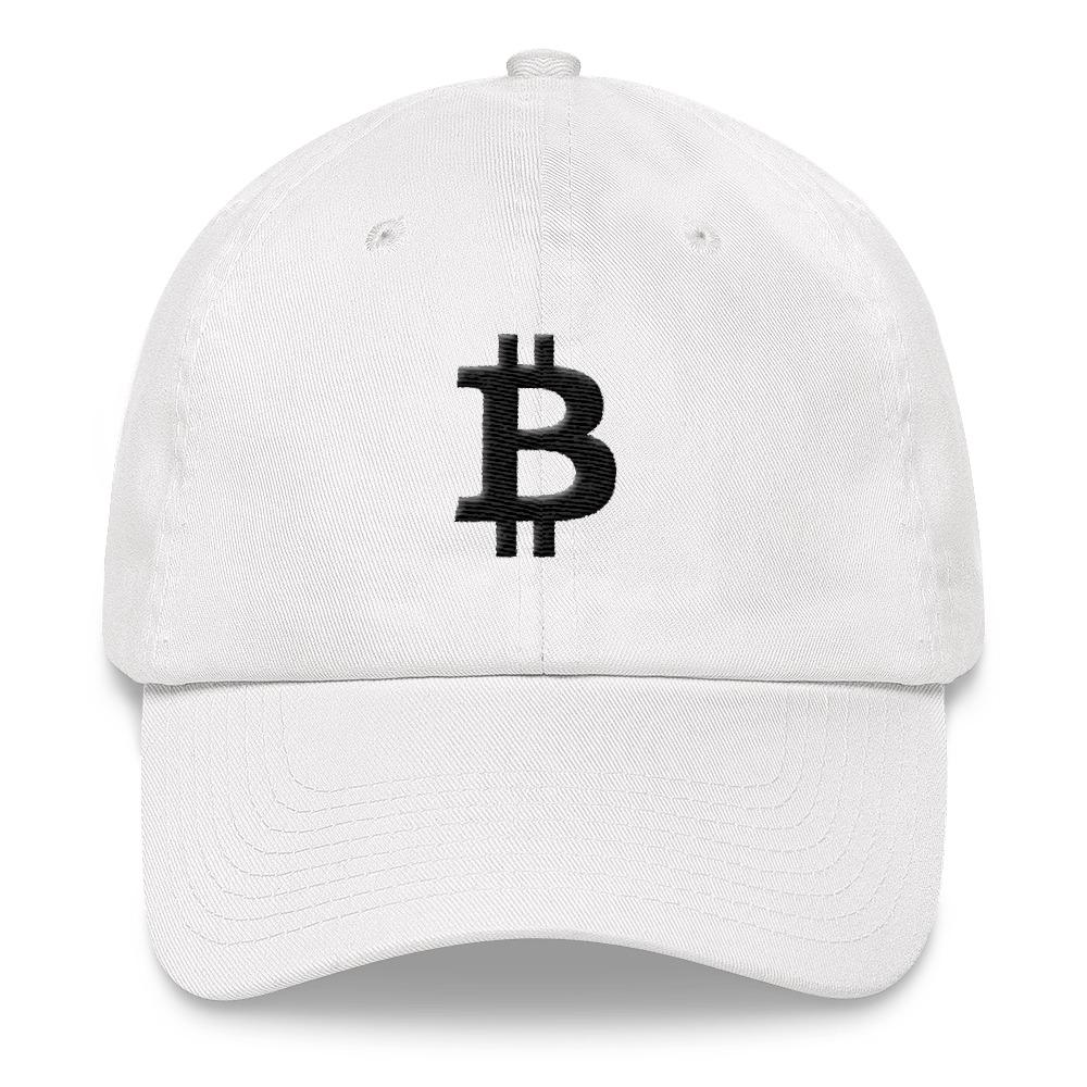 Bitcoin Symbol Dad Hat-White-CryptoClothe