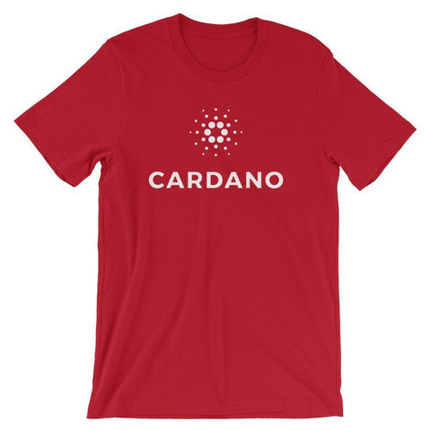 Cardano Logo + Text T-Shirt | Unisex-Red-S-CryptoClothe