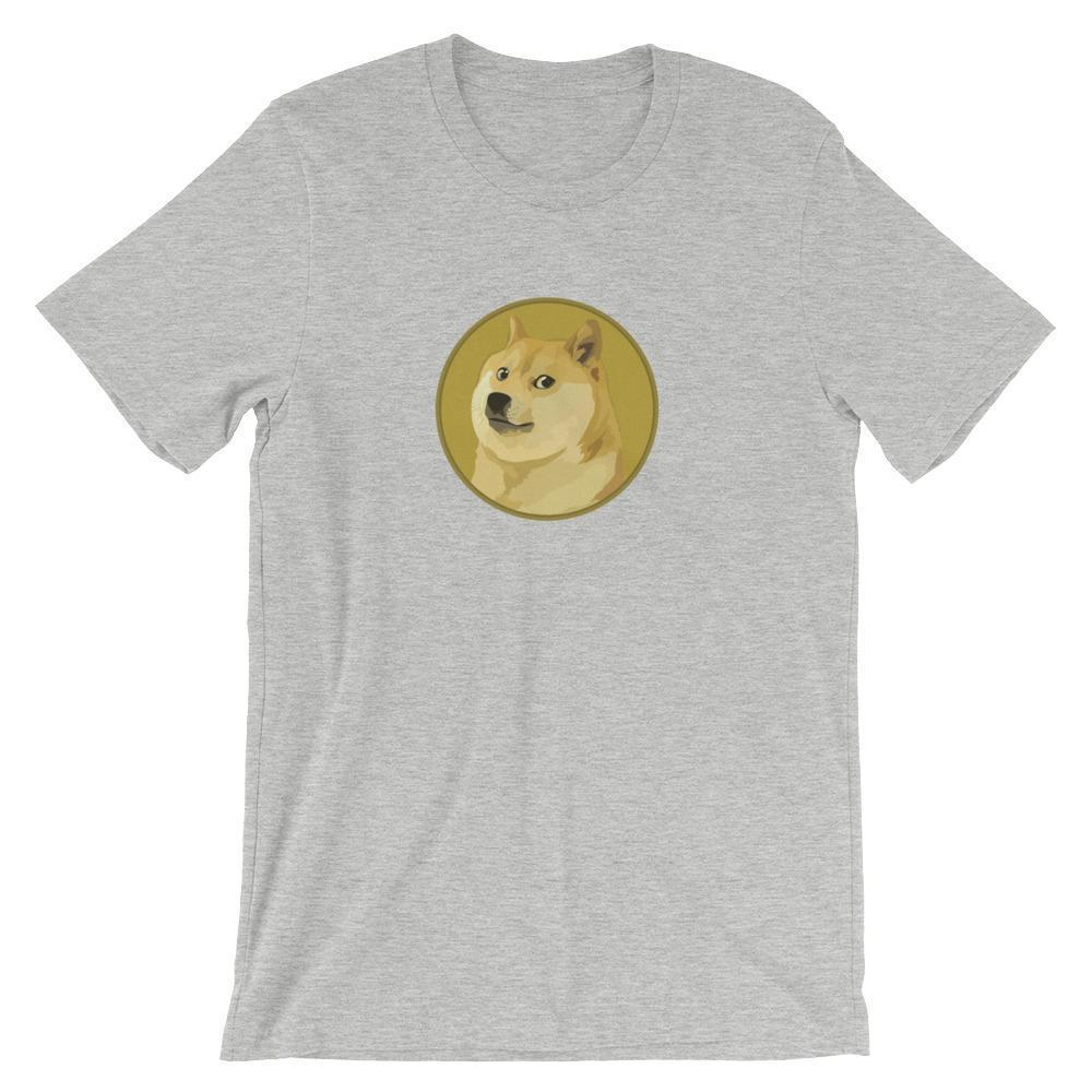 Dogecoin T-Shirt With Logo | Unisex-Athletic Heather-S-CryptoClothe