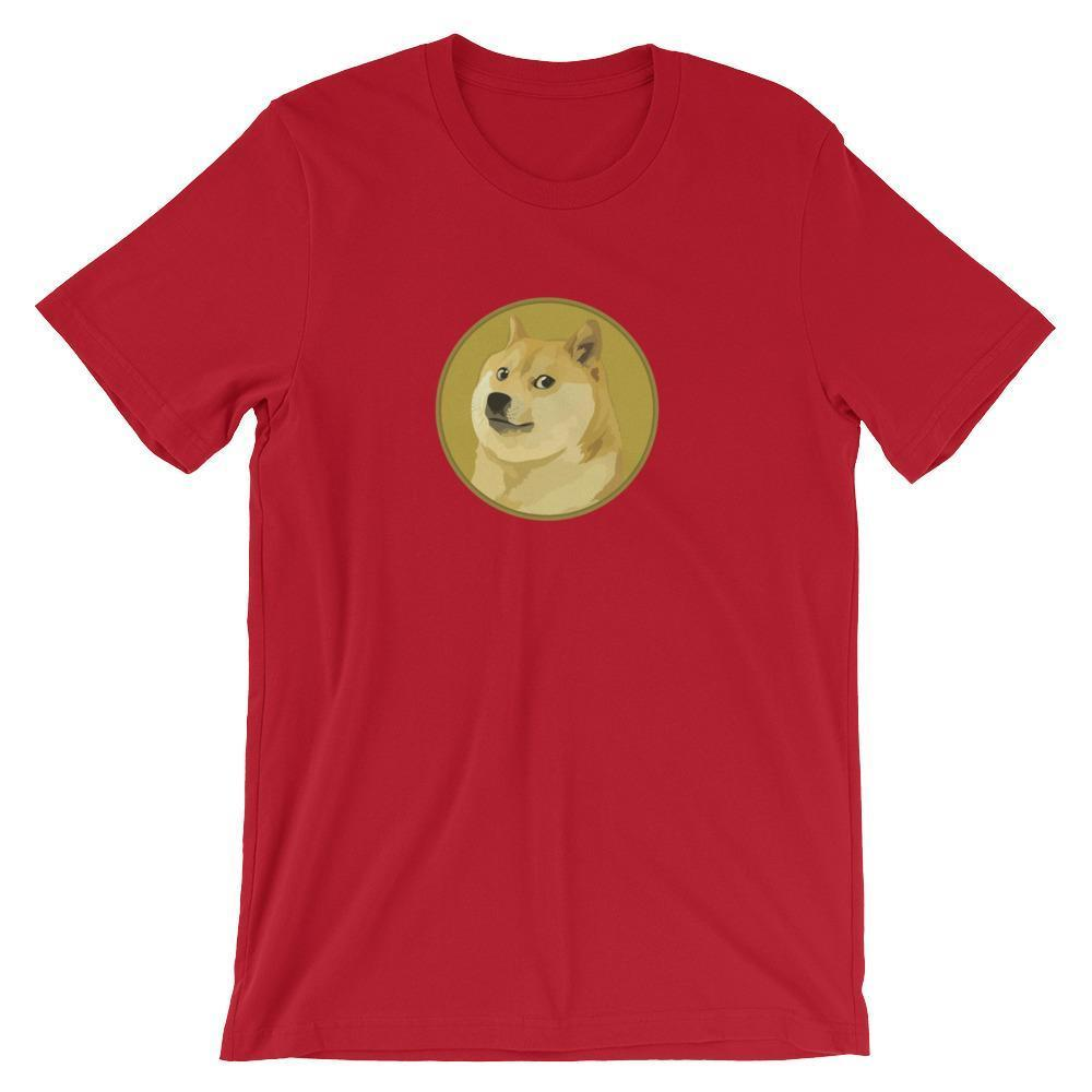 Dogecoin T-Shirt With Logo | Unisex-Red-S-CryptoClothe