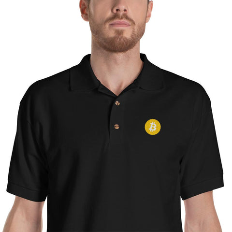 Embroidered Bitcoin Polo Shirt-Black-S-CryptoClothe