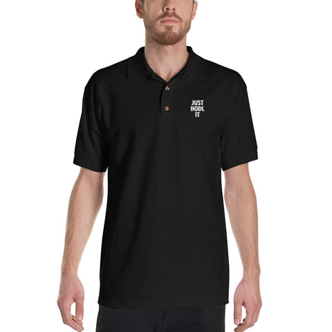 Embroidered JUST HODL IT Polo Shirt-CryptoClothe
