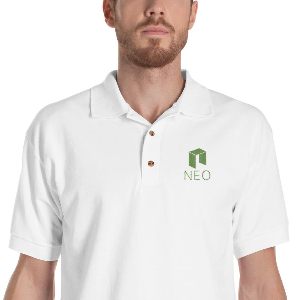 Embroidered NEO + Text Polo Shirt-White-S-CryptoClothe