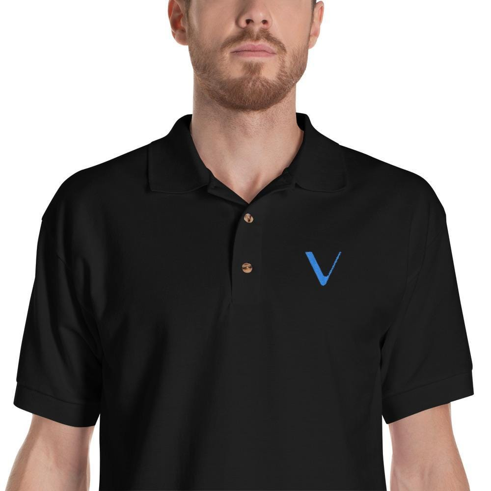Embroidered VeChain Polo Shirt-Black-S-CryptoClothe