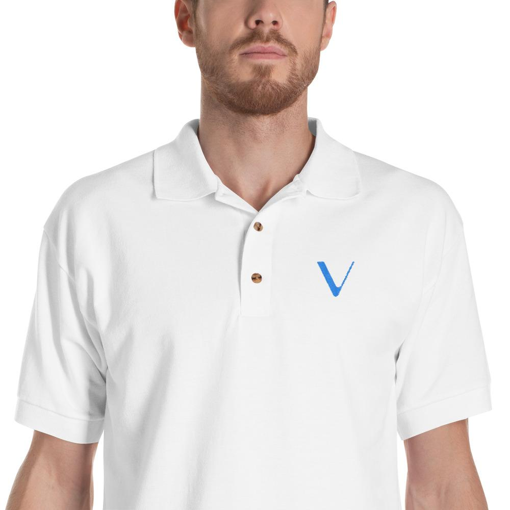 Embroidered VeChain Polo Shirt-White-S-CryptoClothe