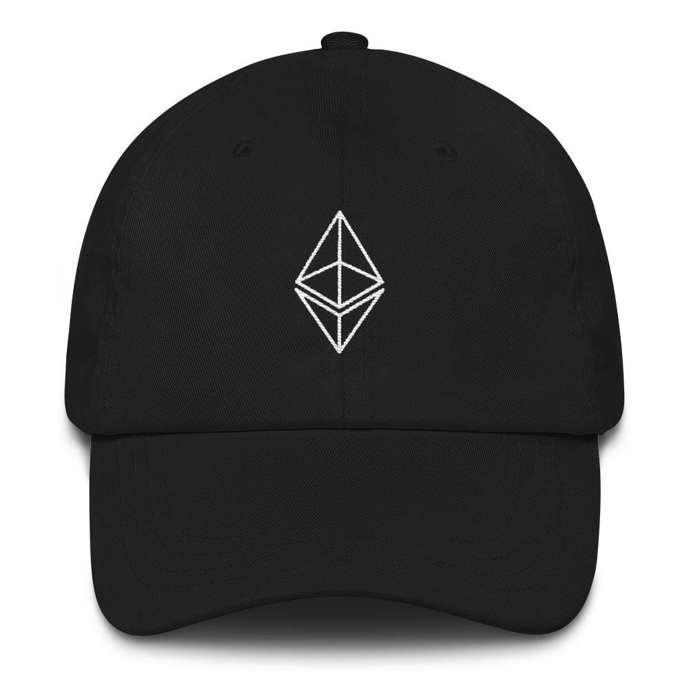 Ethereum Outline Dad Hat-Black-CryptoClothe