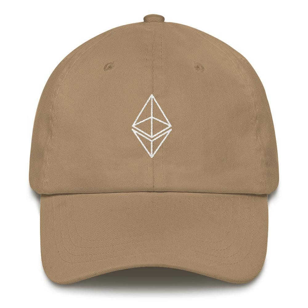 Ethereum Outline Dad Hat-Khaki-CryptoClothe