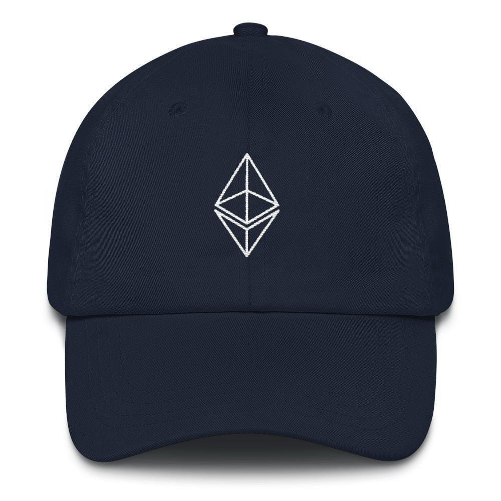 Ethereum Outline Dad Hat-Navy-CryptoClothe